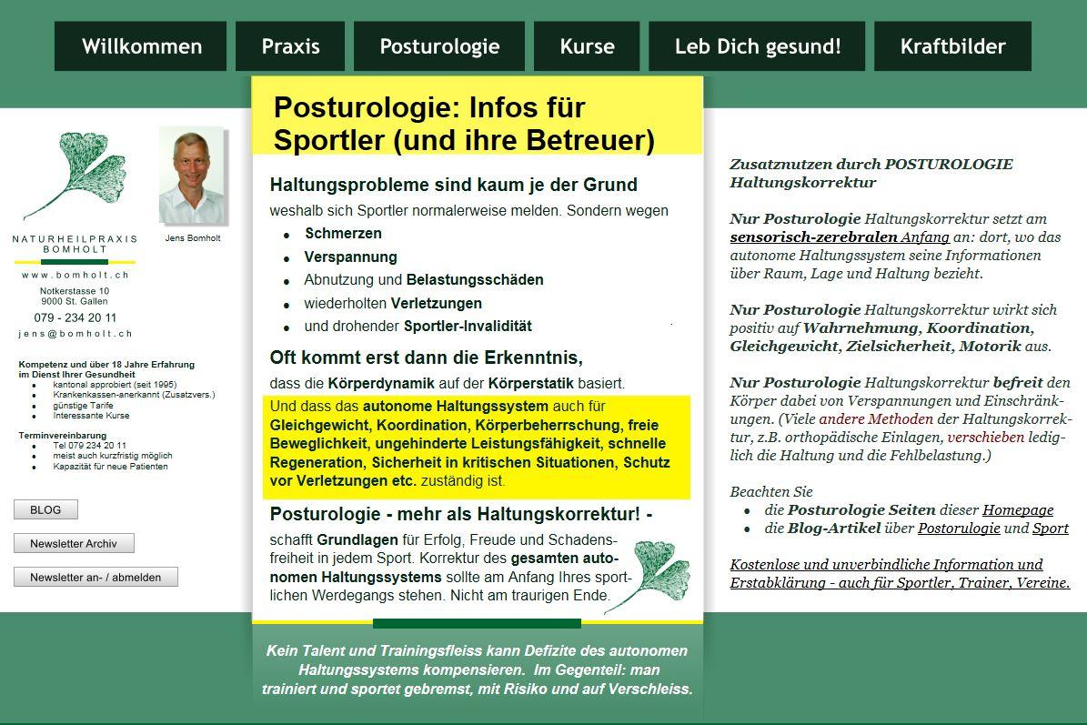 Homepage Seite Posturoloige für Sportler
